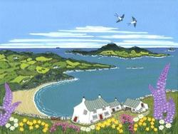 Sarah Earl - Foxgloves and Swallows above Whitesands Bay